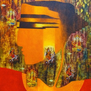 Durga 1 by Bharti Prajapati, Expressionism Painting, Oil on Canvas, Brown color