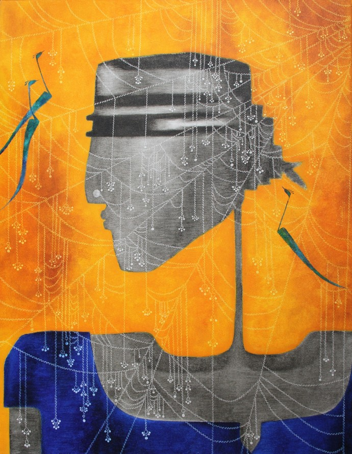 Durga 2 by Bharti Prajapati, Expressionism Painting, Oil on Canvas, Orange color