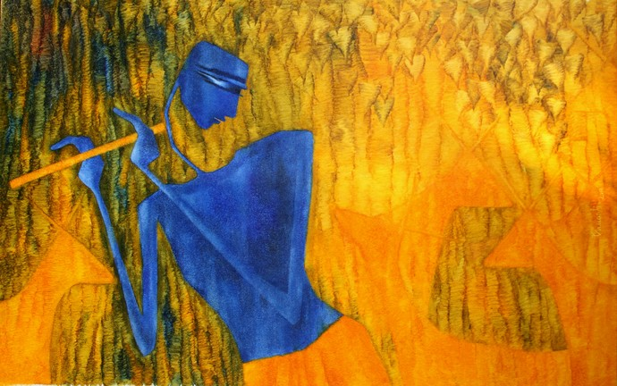 Krishna by Bharti Prajapati, Expressionism Painting, Oil on Canvas, Orange color
