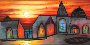 Sunrise at Varanasi by Manu Parekh, Decorative Painting, Acrylic on Canvas, Brown color
