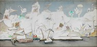 Banaras Landscape White 3 by Manu Parekh, Expressionism Painting, Acrylic on Canvas, Gray color
