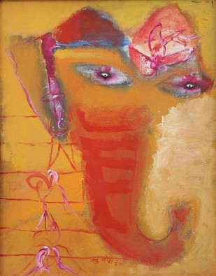 Ganesh I by Manu Parekh, Impressionism Painting, Acrylic on Canvas, Brown color
