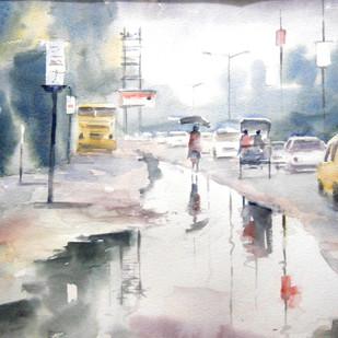 Rain Drenched Digital Print by Sajal K. Mitra,Impressionism