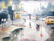 Rain Drenched by Sajal K. Mitra, Impressionism Painting, Watercolor on Paper, Gray color