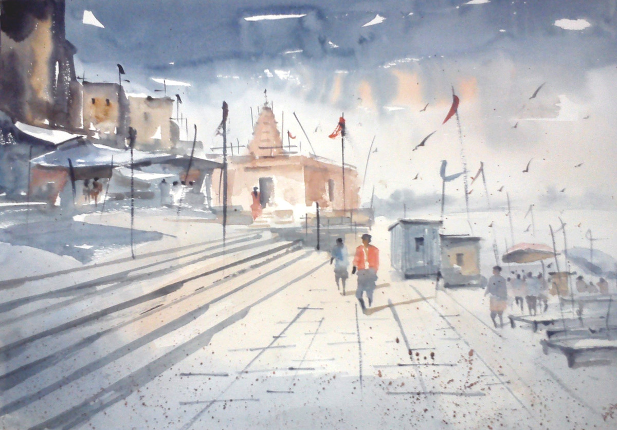 Benaras Ghat by Sajal K. Mitra, Impressionism Painting, Watercolor on Paper, Gray color