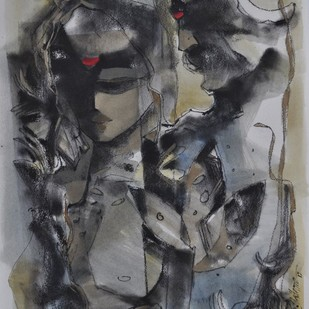 UNTITLED by Sachin Jaltare, Expressionism Painting, Mixed Media on Paper, Gray color