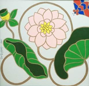 Lotus I by Shan Bhatnagar, Decorative Painting, Acrylic on Canvas, Beige color