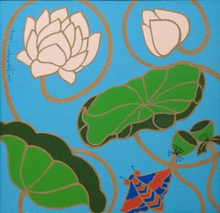 Lotus II by Shan Bhatnagar, Decorative Painting, Acrylic on Canvas, Green color