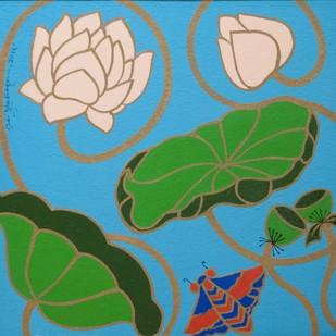 Lotus II by Shan Bhatnagar, Decorative Painting, Acrylic on Canvas, Green color