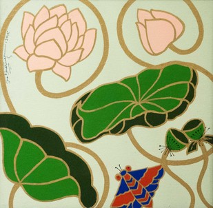Lotus III by Shan Bhatnagar, Decorative Painting, Acrylic on Canvas, Beige color