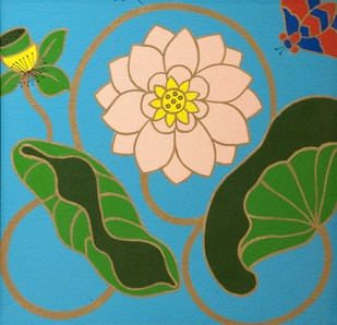 Lotus IV by Shan Bhatnagar, Decorative Painting, Acrylic on Canvas, Green color