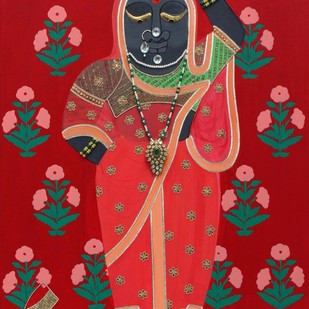 Srinathji as Radha by Shan Bhatnagar, Traditional Painting, Mixed Media on Canvas, Red color