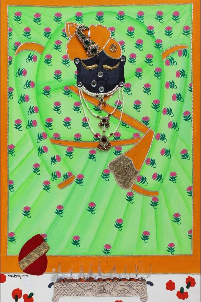 Mangala Darshan - Srinathji by Shan Bhatnagar, Traditional Painting, Mixed Media on Canvas, Green color