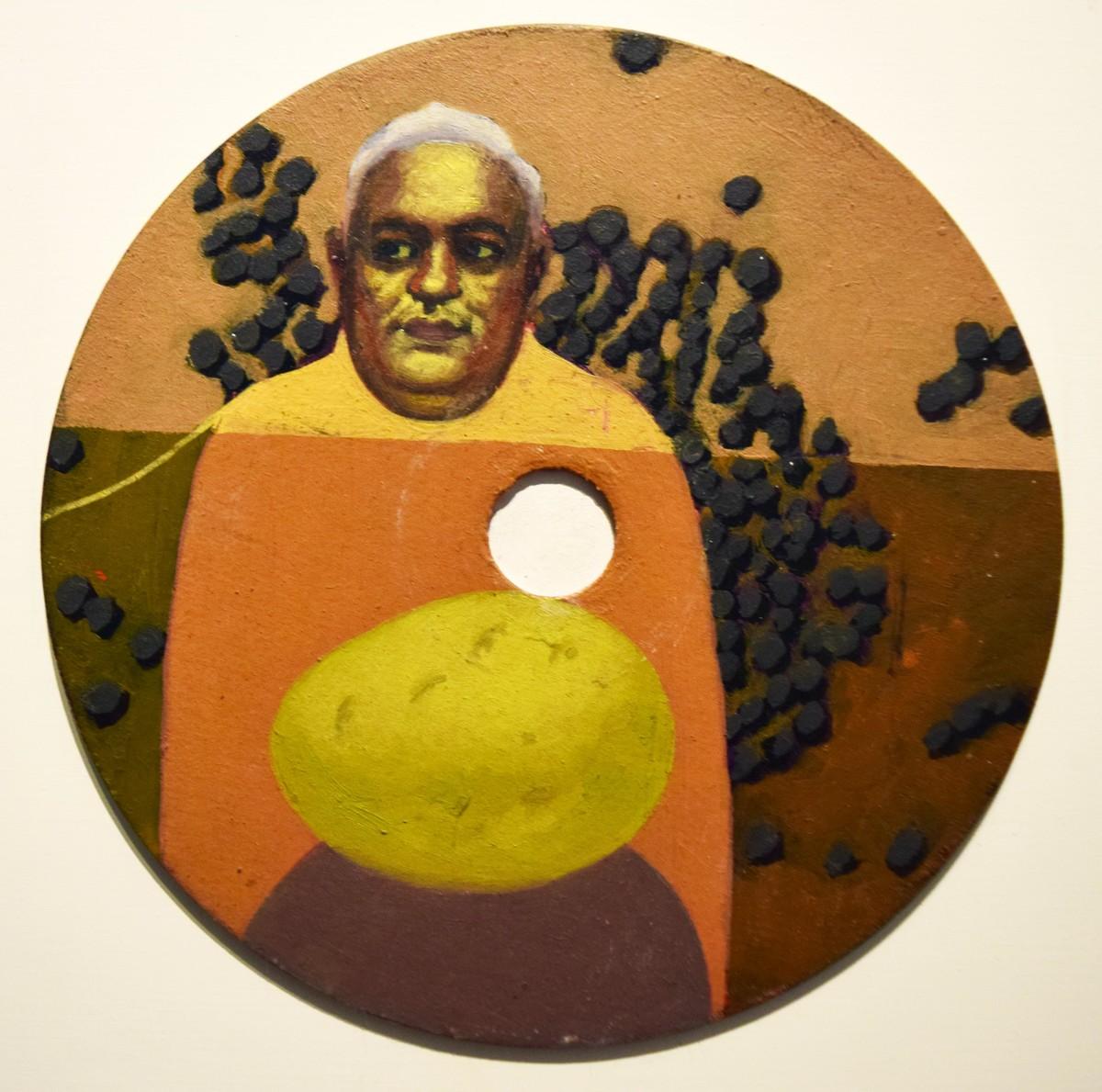 Story 2 by Rajesh Prasad Srivastava, Pop Art Painting, Oil on Acrylic Sheet, Brown color