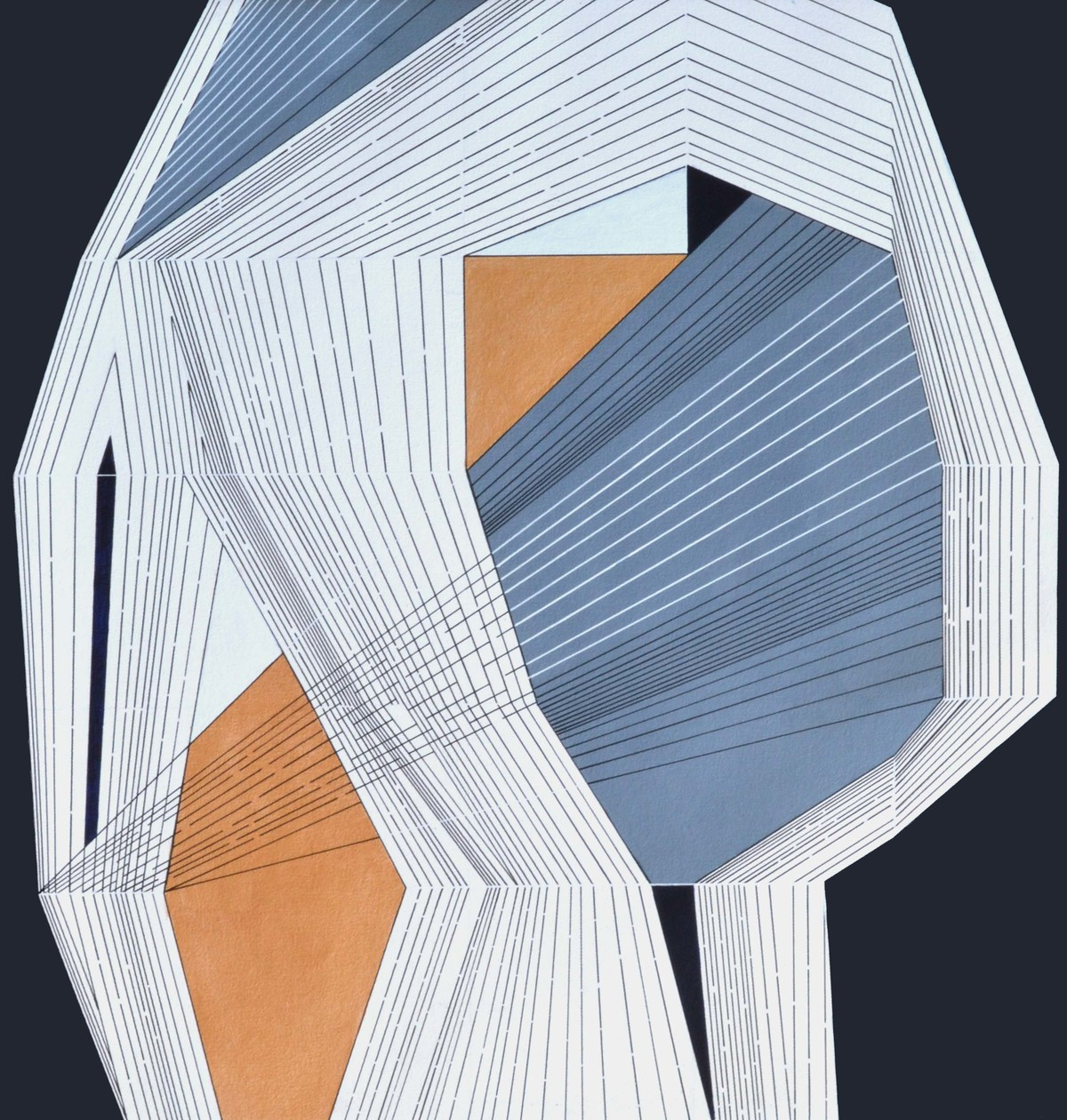 Abstract Space A by S K Sahni, Geometrical Painting, Acrylic on Canvas, Blue color