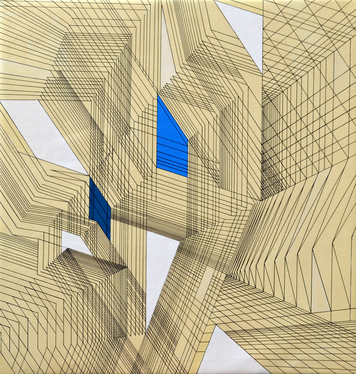 Abstract Space C by S K Sahni, Op Art Painting, Acrylic on Canvas, Beige color