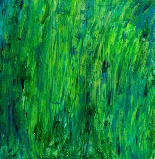 Abstract Space F by S K Sahni, Abstract Painting, Acrylic on Canvas, Green color