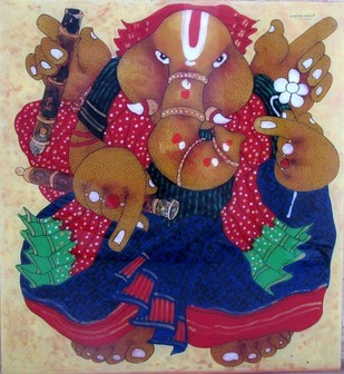 GANESHA by Shyamal Mukherjee, Decorative Painting, Acrylic on Acrylic Sheet, Brown color