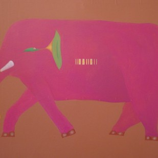 ELEPHANT by Babu Xavier, Expressionism Painting, Acrylic on Canvas, Brown color