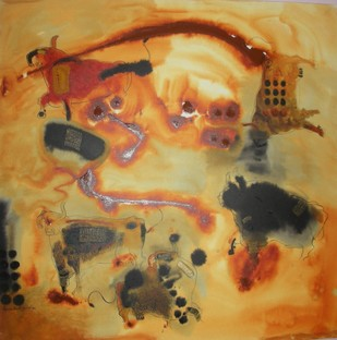 BULLS by Sayam Bharath yadav, Impressionism Painting, Acrylic on Canvas, Brown color
