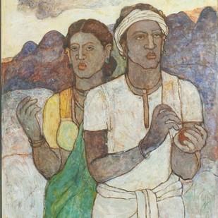 Untitled by Kavita Deuskar, Impressionism Painting, Tempera on Canvas, Beige color