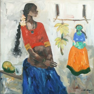 BADAMI SERIES by J M S Mani, Impressionism Painting, Acrylic on Canvas, Beige color