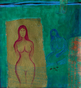 Isolation by Kanchan Chander, Expressionism Painting, Acrylic & Ink on Paper, Green color