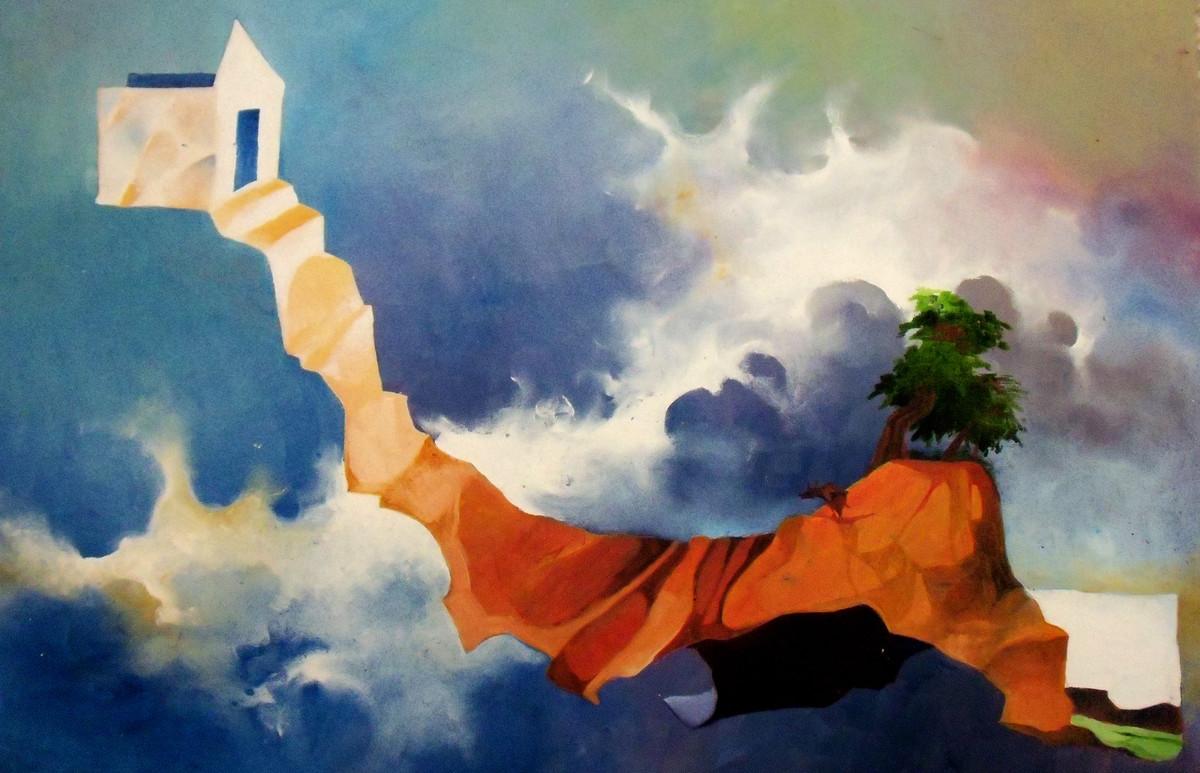 House on the Hill Digital Print by Ranjit Balmuchu ,Surrealism