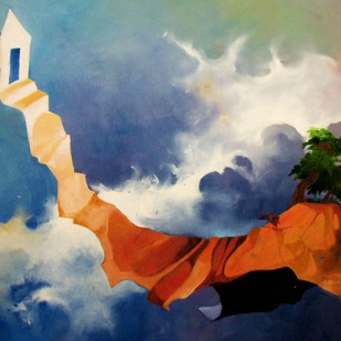 House on the Hill by Ranjit Balmuchu , Surrealism Painting, Oil on Paper, Blue color