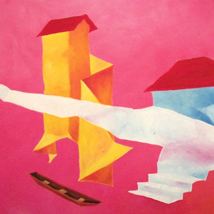 Yellow House and the Boat by Ranjit Balmuchu , Surrealism Painting, Oil on Paper, Pink color