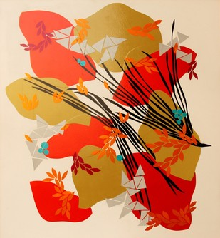 Red Riot in the Sun by Sahar Zaman, Decorative Painting, Mixed Media on Board, Beige color
