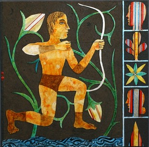 UNTITLED by Chippa Sudhakar, Decorative Painting, Acrylic on Wood, Brown color