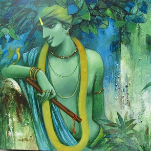 TUNE OF LOVE by Subrata Das, Decorative Painting, Acrylic on Canvas, Green color