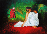Strings Attached by Shoma, Fantasy Painting, Oil on Canvas, Green color
