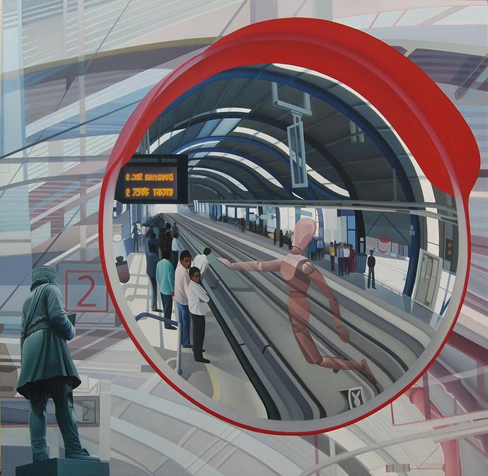 Mirror Image by JOYDIP SENGUPTA, Surrealism Painting, Oil on Canvas, Gray color