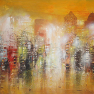 city night 1 by Surajit Chakraborty, Impressionism Painting, Acrylic on Canvas, Brown color