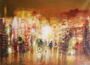 city night 2 by Surajit Chakraborty, Impressionism Painting, Acrylic on Canvas, Brown color