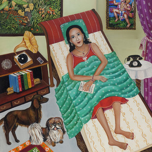 My Pets by Nayanaa Kanodia, Traditional Painting, Mixed Media on Canvas, Brown color