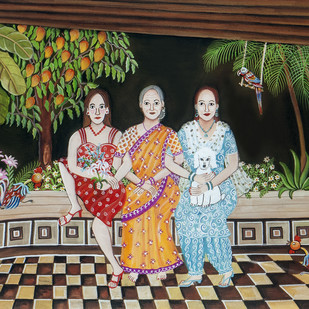 The Verandah by Nayanaa Kanodia, Traditional Painting, Mixed Media on Paper, Brown color