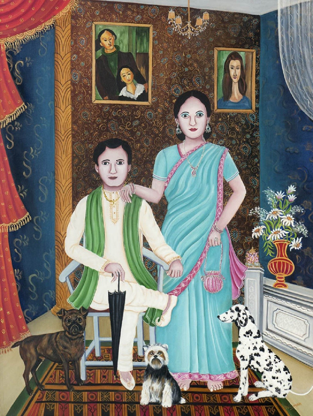 The Innocent Pleasures of life by Nayanaa Kanodia, Traditional Painting, Oil on Canvas, Brown color