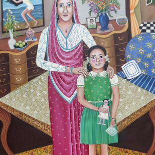 The flight of the Girl Child by Nayanaa Kanodia, Traditional Painting, Mixed Media on Canvas, Brown color
