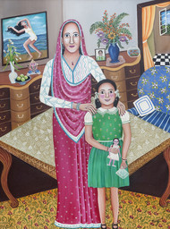 The flight of the Girl Child by Nayanaa Kanodia, Traditional Painting, Oil on Canvas, Brown color