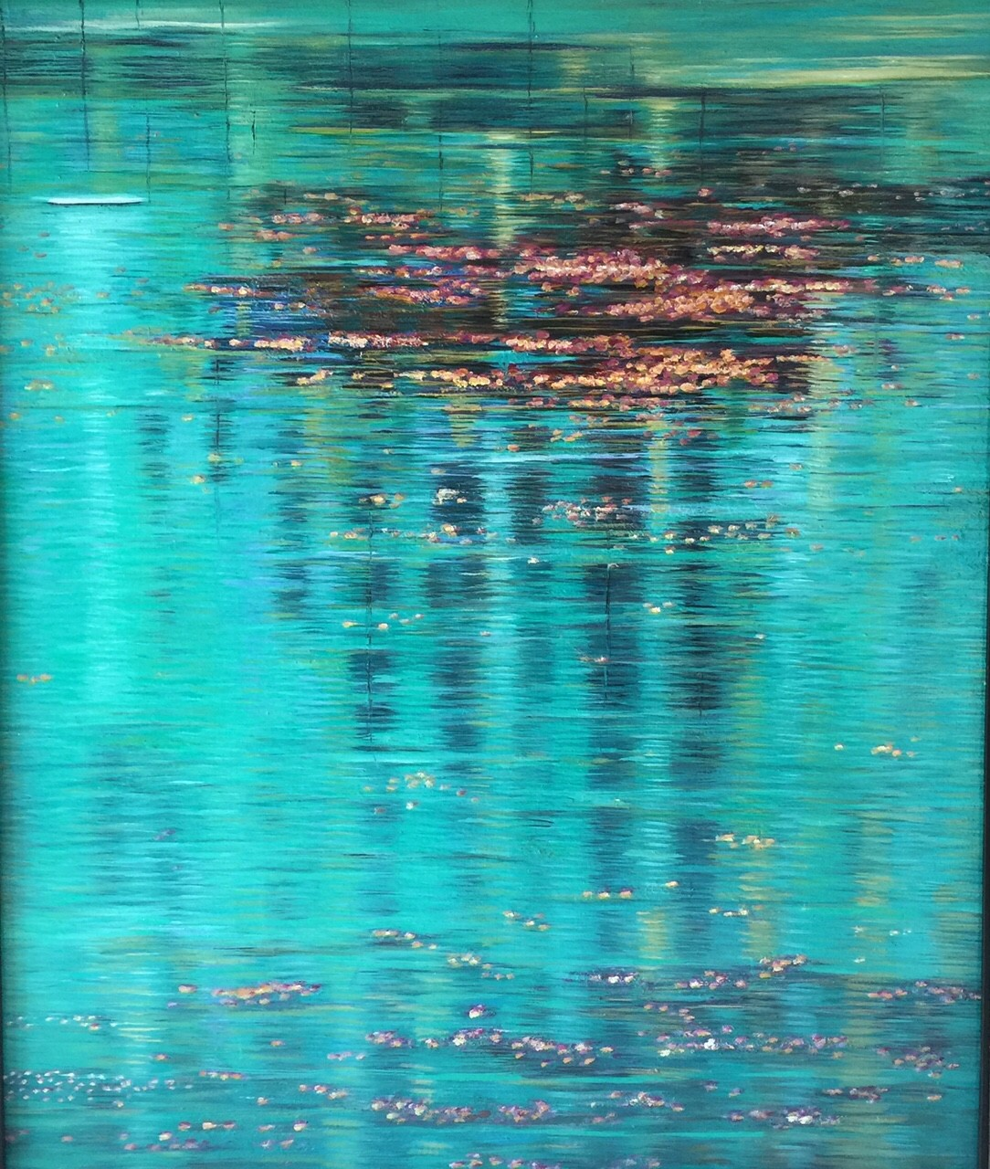 Reflections by Madhuri Bhaduri, Impressionism Painting, Oil on Canvas, Cyan color