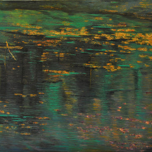 Reflections by Madhuri Bhaduri, Impressionism Painting, Oil on Canvas, Green color