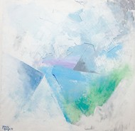 Untitled by Tarini Ahuja, Abstract Painting, Acrylic on Canvas, Cyan color