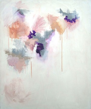 Ma - Untitled (peach, purple, pink) by Tarini Ahuja, Abstract Painting, Acrylic on Canvas, Gray color