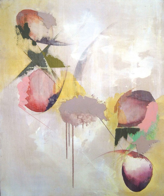 Vibrant - Edges Round by Tarini Ahuja, Abstract Painting, Acrylic on Canvas, Beige color