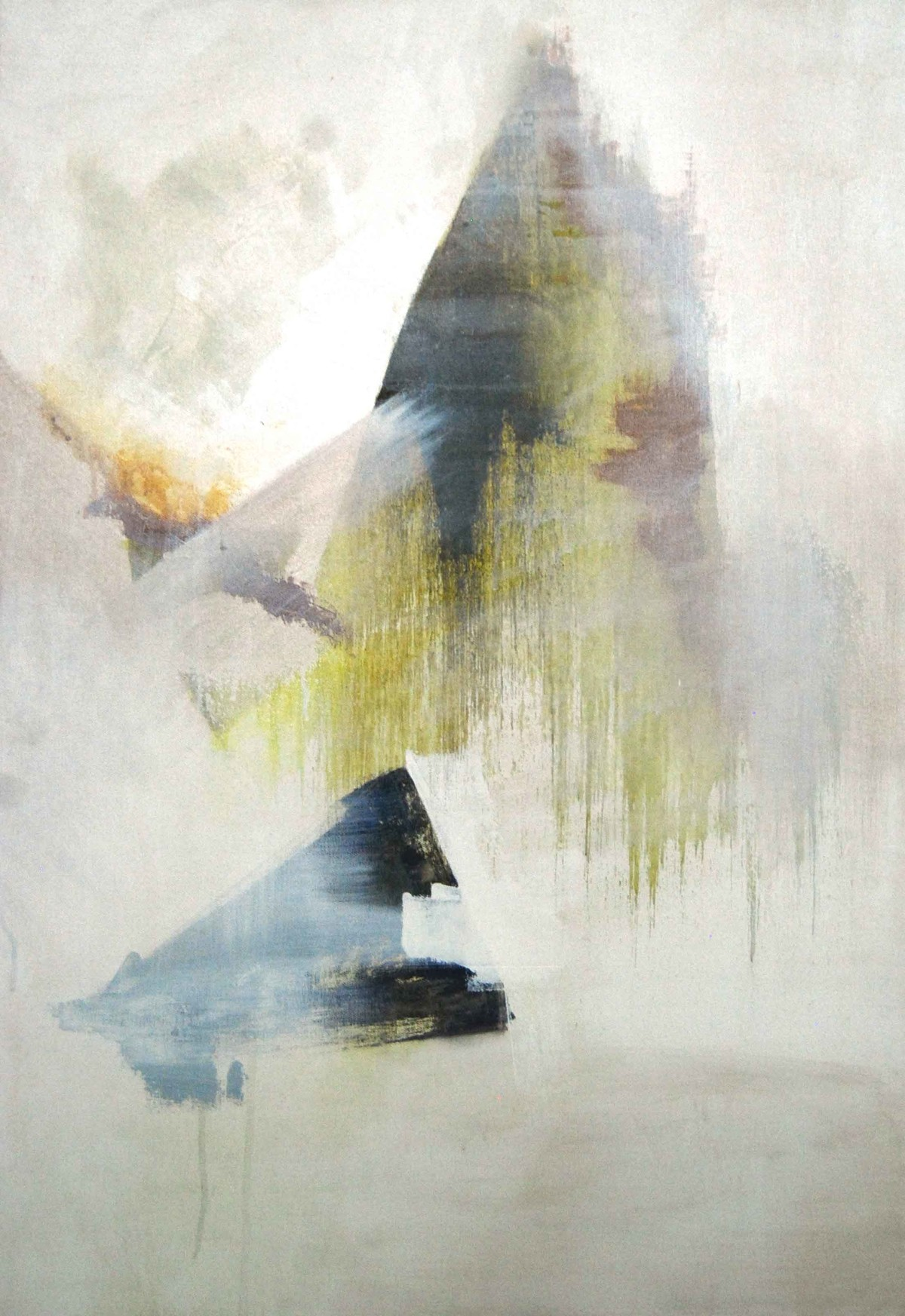 Whiteout - And then it Falls by Tarini Ahuja, Abstract Painting, Acrylic on Canvas, Beige color