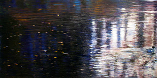 Reflections by Madhuri Bhaduri, Impressionism Painting, Oil on Canvas, Gray color