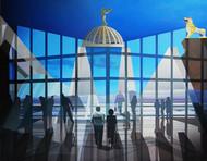 Configuration by JOYDIP SENGUPTA, Surrealism Painting, Oil on Canvas, Blue color